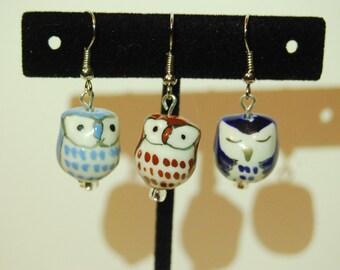 Owl Glass Earrings