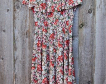 1970s Vintage Floral Ruffle Neck Dress