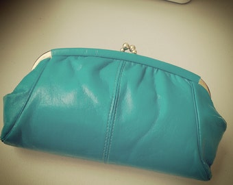 1980's Vintage Retro Jade Green Gold Clasp Leather look Handbag Clutch Bag