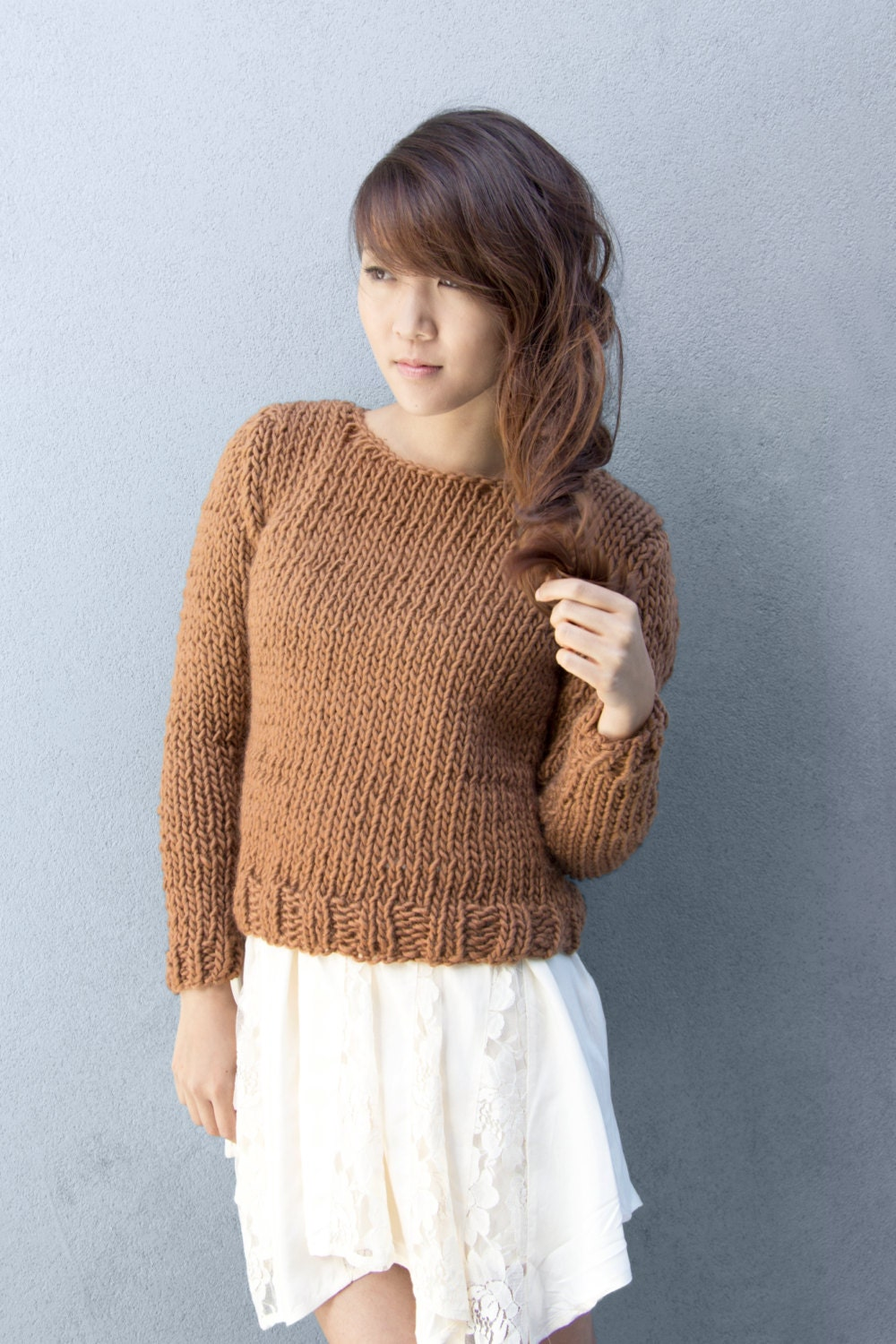 Easy Knitting Pattern For Sweater : Knitting Pattern for Beginners Basic Sweater Easy Throw-on