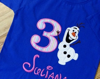 Olaf with Frozen Disney Birthday Shirt / Onesie  - Any Birthday - Personalized Monogrammed Embroidered Shirt Onesie