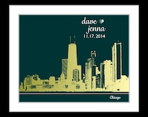Chicago Skyline: ANY Map Wedding City Skyline Personalized Art Print Unique Framed Art  Wedding Gifts Engagement Present Illinois Print il
