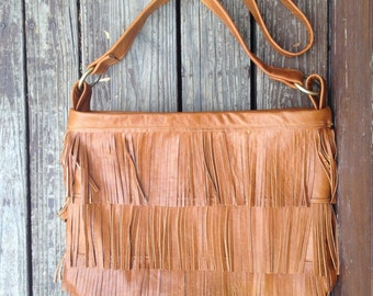 Leather Fringe Bag, boho, Gypsy, Festival, Leather Fringe Purse, Tote