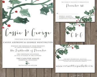 Printable Wedding Invitation Suite - the Holly Jolly Collection - Christmas Winter Wedding