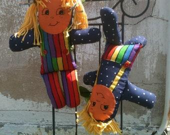 Imagination Dolls With Yellow Hair; Zany Rag Dolls; Boy and Girl Twins