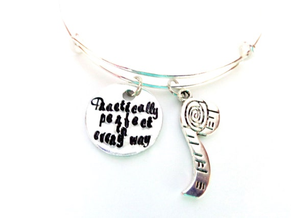 Inspirational Quote Bangle Bracelet, Practically Perfect in Every Way, Stamped Bracelet, Gift For Her