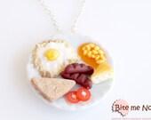 Food Jewelry English Breakfast Necklace - Food Necklace - Clay Food - Mini Food Jewelry - Foodie Gift - Miniature Food Jewelry - Fake Food