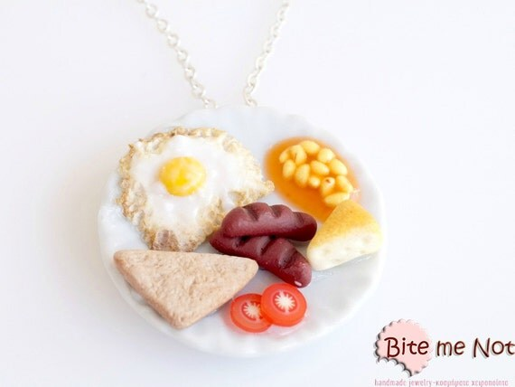 Food Jewelry English Breakfast Necklace - Food Necklace - Clay Food - Mini Food Jewelry - Foodie Gift - Miniature Food Jewelry - Fake Food