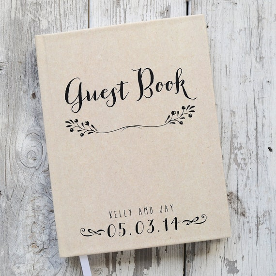 Wedding Guest Book Wedding Guestbook Custom Guest Book Personalized rustic kraft wedding keepsake wedding gift guestbook photo booth lined