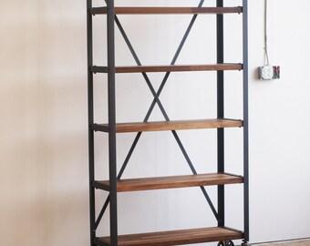 Walnut Engineers Industrial Bookcase Shelf Shelving Vintage bookshelve