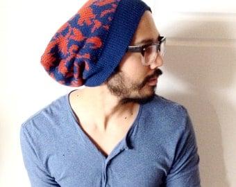 Slouch beanie, winter beanie, dread hat, ready to ship- red blue knit- boyfriend gift idea, guy gift, dread hat, woman beanie, gift idea
