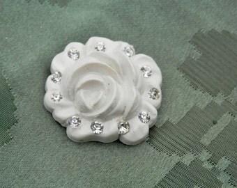 STUNNING! Rhinestone Rose Vintage Button
