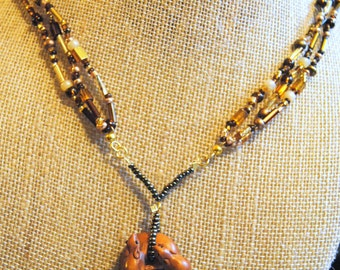 Brown, Gold, and Wood Necklace