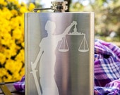 Lady Justice Customizable Etched Stainless Steel Flask Barware Gift