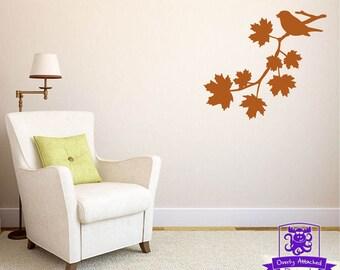 Bird on a Fall Tree Branch Wall Decal Decor