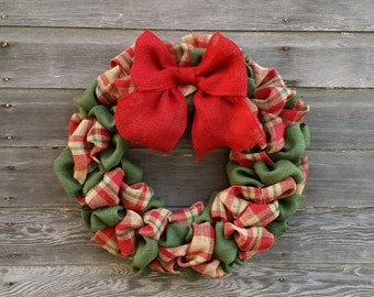 Plaid Burlap Christmas Wreath, Plaid Burlap Wreath, Christmas Burlap Wreath, Holiday Wreath, Christmas Decor, Rustic Wreath, Wreaths
