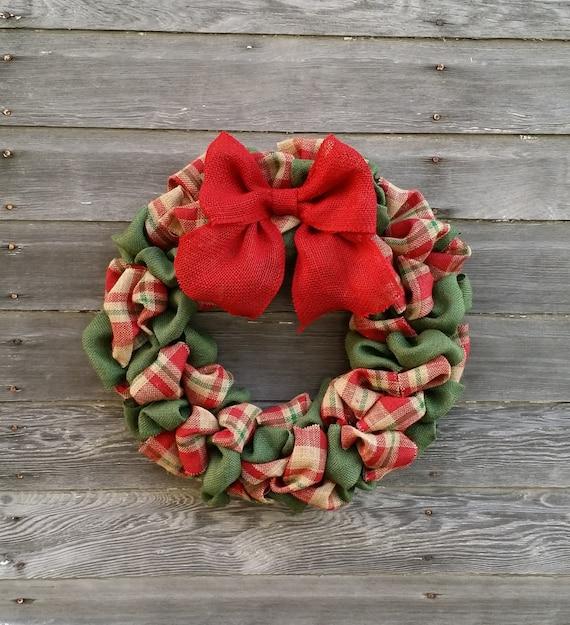 Plaid Burlap Christmas Wreath Plaid Burlap Wreath Christmas