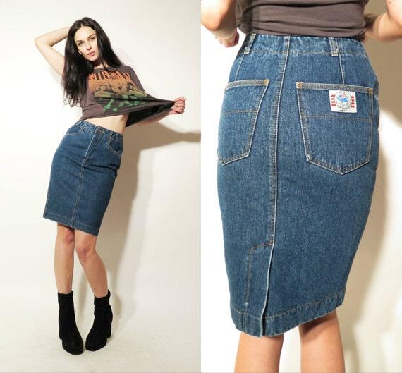 vintage blue denim pencil high waisted tight mini skirt size