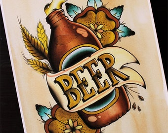 "VB Beer 11""x14"" Traditional Tattoo Flash Print (Other sizes available)"