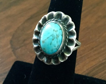 Vintage Turquoise and Sterling Silver Boho Hippie 70's Ring