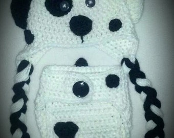 Crochet Dalmatian Hat and Diaper Cover