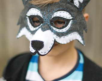 Wolf Mask Handmade Felt Embroidered Details--Halloween Children Photography Prop Animal Costume