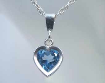 TOPAZ - Piercing Swiss Blue Topaz Solitaire Sterling Heart Necklace 1.14 carats! FREE SHIPPING!