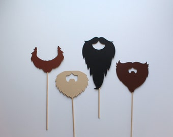4 Assorted Beard Photo Booth Props