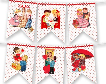 Digital vintage Valentines Day banner / DIY / pennants with retro children / red and white / printable / instant download / PDF / bunting