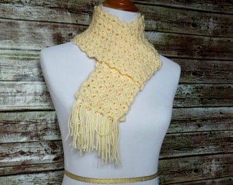 Cream Scalloped Edge Scarf with Fringe - Off White Crochet Scarf
