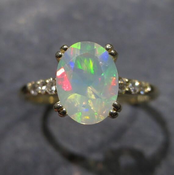 Genuine Ethiopian Opal Ring W Diamond Accents Size 7 25