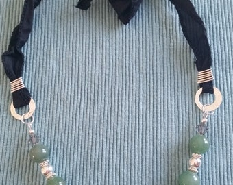 Green aventurine (quartz) and sterling silver necklace