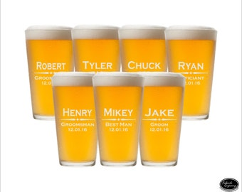 SHIPS FAST - SEVEN Groomsman Glasses, Pint Groomsman Glasses, Beer Groomsman Glasses, Custom Groomsman Beer Mugs,  Personalized Pint Glasses