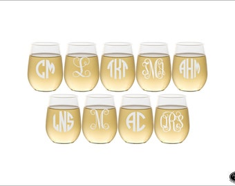 NINE Custom Engraved Wine Glasses, SHIPS FAST, Etched Monogram Wine Glasses, Personalized Stemless Wine Glasses, Monogrammed Wine Glasses