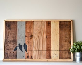 Reclaimed wood art sign: Three bird family on wire silhouette on multi-stained wood canvas in frame