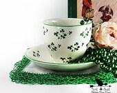 Shamrock Teacup Set Carrigaline Pottery Vintage St Patricks Day Home Decor