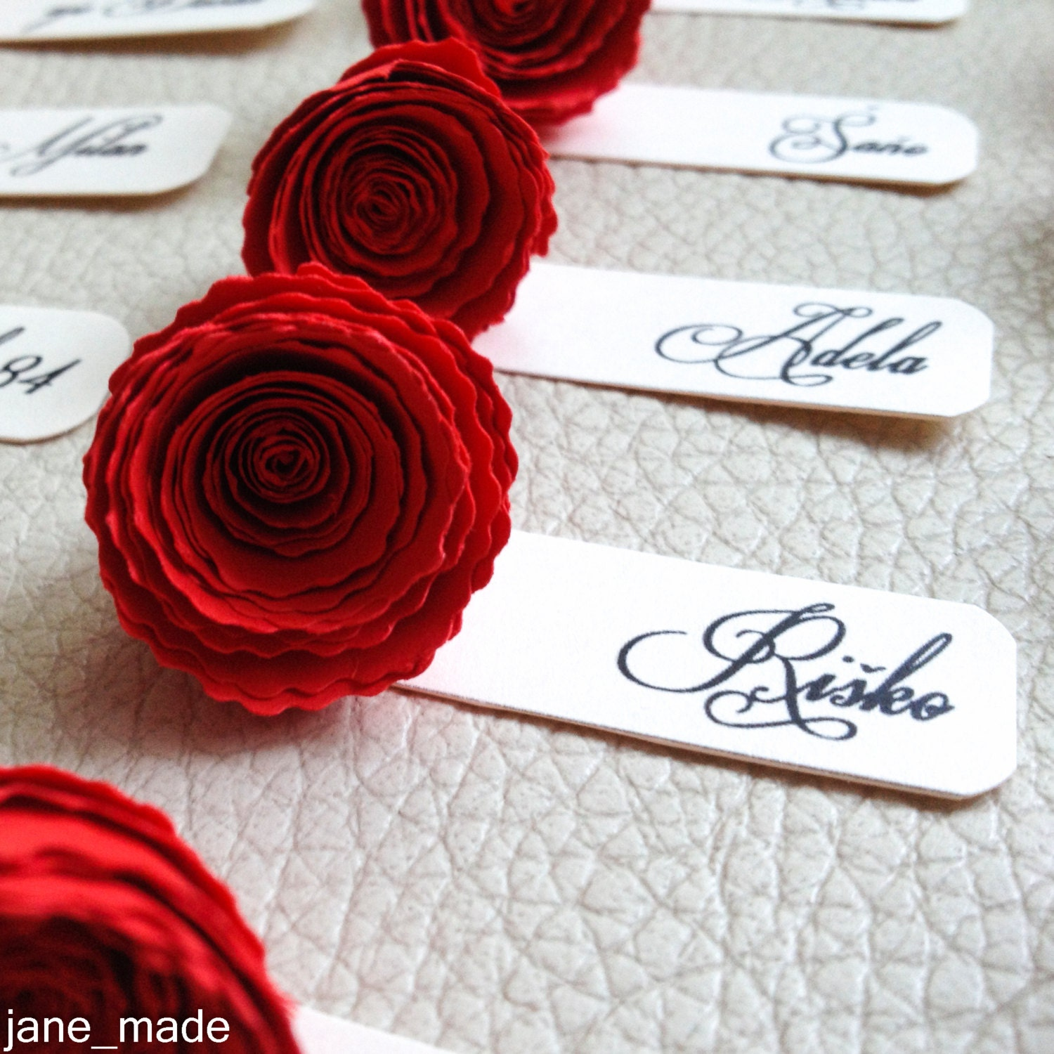 Wedding name table tags paper rose elegant name tag celebration ...