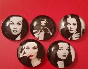 Elvira,Vampira, Morticia, Lily Munster