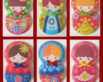Cute Russian Doll Ornament or Magnet - Six to choose from