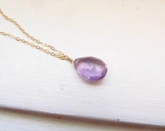 Amethyst necklace purple briolette silver lilac simple delicate
