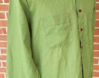 Vintage Long Sleeve Green Button Down Shirt By Bran De Chine