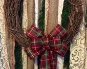 Handmade Wreath Bow/ Cranberry Apple Wreath Bow Small/ Small Handmade Wreath Bows/ Holiday Wreath Bows/ Plaid Holiday Wreath Bow Small