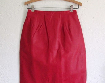 Bagatelle Vintage 1980's Red Leather Skirt Size 6
