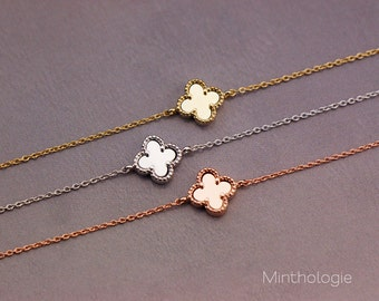 Four Leaf Clover Bracelet B020 / gold filled sterling silver rose gold 14k lucky daisy flower bridesmaids gift