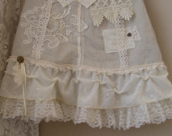 SALE Lace Skirt/ Beige and Ivory Linen-Rayon Skirt/ Wearable Art/ Small