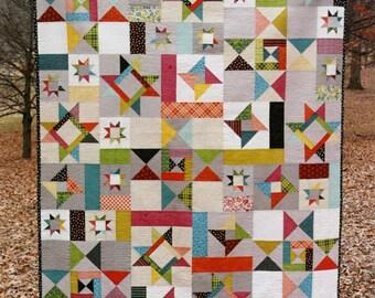 Starfall quilt pattern by Fresh Lemons - modern quilt pattern, scrap quilt, fat quarter friendly