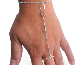 Sterling Silver Slave Bracelet, Infinity Ring Chain Bracelet