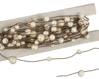 Rustic Wire with Ivory Pearl Garland - 24 feet