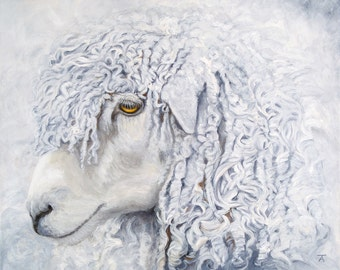 Sheep, Leicester Longwool sheep giclée print from original painting