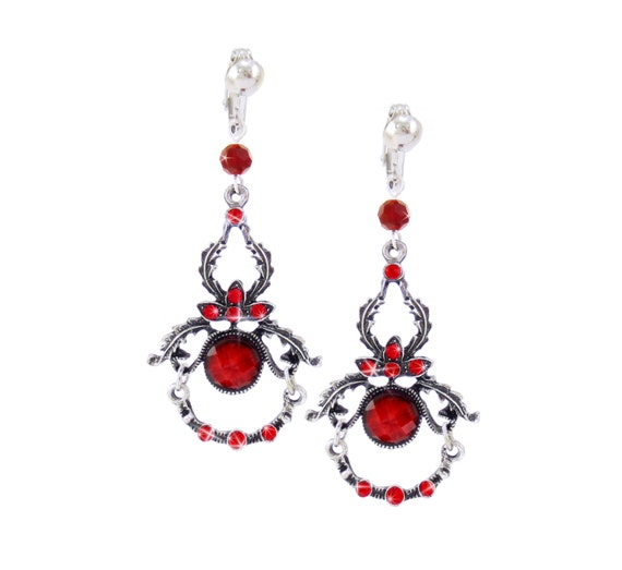 93ee3106a Red Prom Dangle Clip on Earring, Small Dainty Bridesmaid Chandelier, Fancy  Dressy Silver Wedding Jewelry, Opulent Burlesque, CLIPON or HOOK